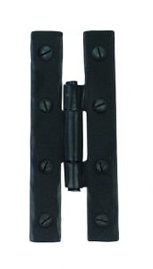 An image of a black door hinge which has been handmade and is sold by Heart of Wood.