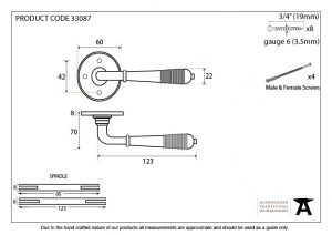An image of a drawing of a door handle showing its measurements.