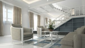 An image of a modern living room with spiral staircase, hard flooring and three large windows.
